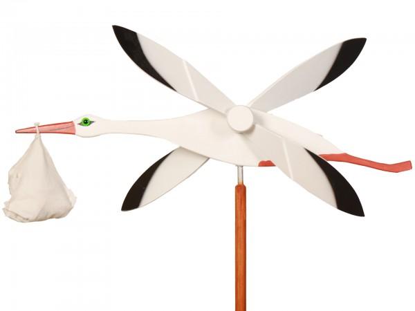 Windspiel Storch, handgefertig, wetterfest lackiert